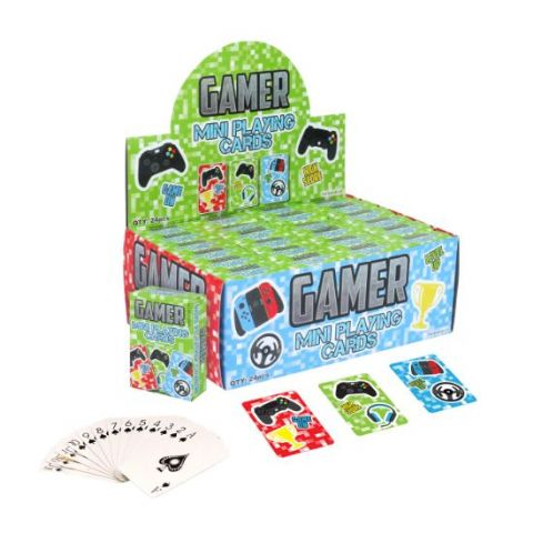 24 x Packs Of Gamer Mini Playing Cards - Wholesale Bulk Buy Party Bag Fillers